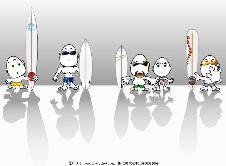 冲浪 卡通 人物 倒影 简单 滑板 矢量 有趣 体育运动 文化艺术 eps