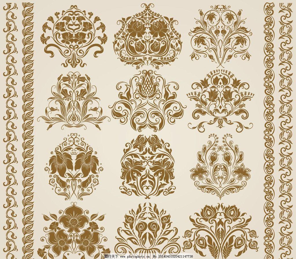 欧式花纹 手绘 线条 时尚邀请卡 植物花纹 婚礼 婚庆 民族装饰花纹图片