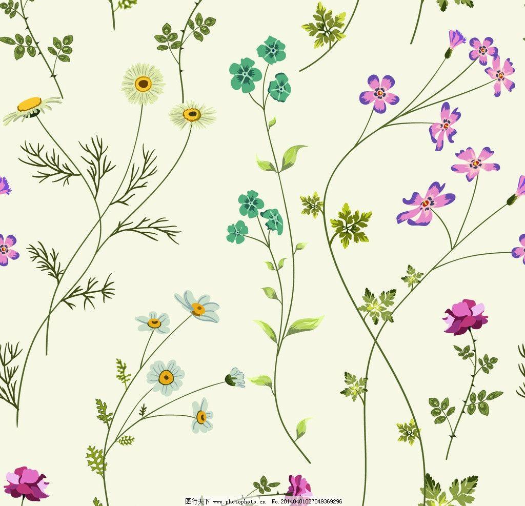 手绘花卉 花卉 花纹花卉 鲜花 卡通花卉 绿叶 卡通 花草背景 花草