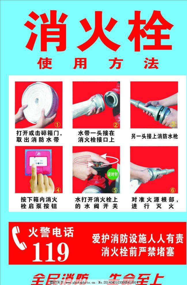 消防使用方法 消火栓 消防海报 消防图片 消火栓使用方法 海报设计
