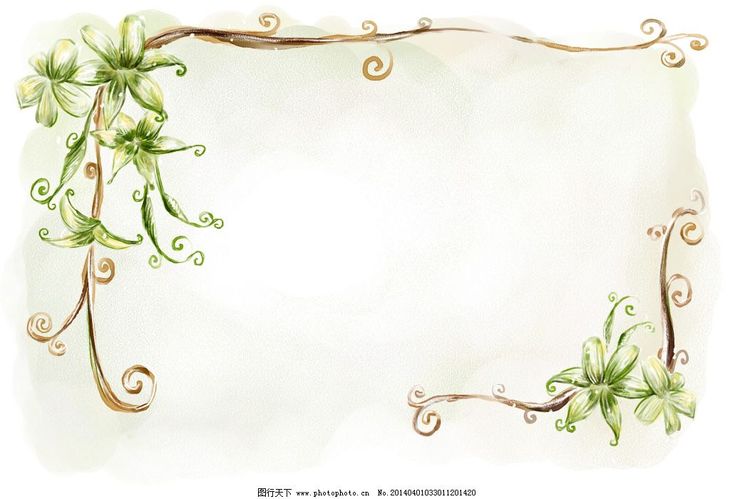 手绘藤蔓花边模板免费下载 psd模板 背景素材 手绘风格 藤蔓 艺术模板