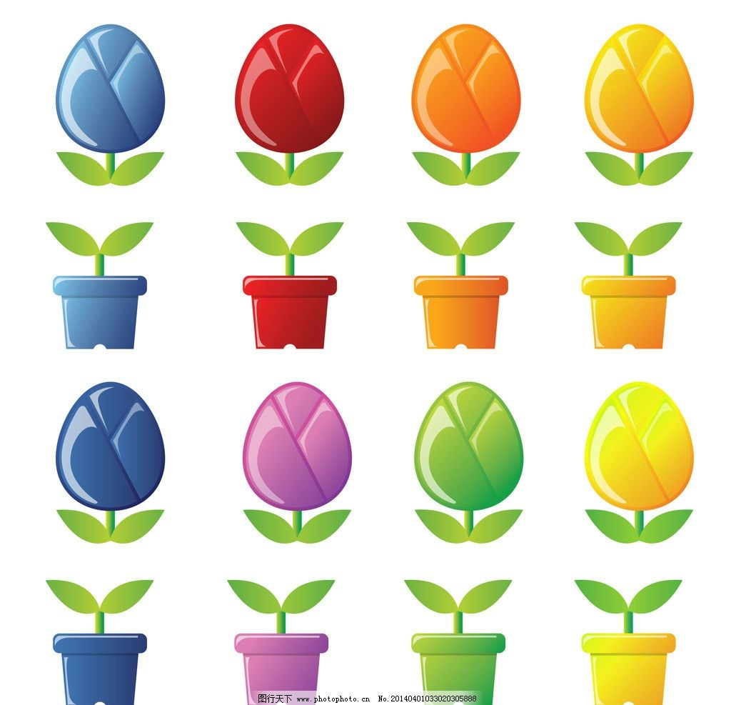 卡通花盆 手绘花盆 精美花盆 花盆贴图 花开富贵 移门画 简洁 移门