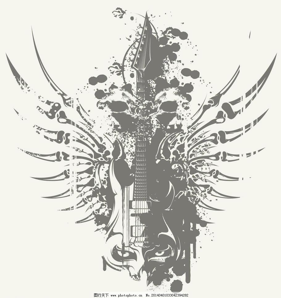 t恤图案 t恤设计 翅膀 花纹 墨迹 墨痕 墨点 天使翅膀 泼墨 翼 吉他