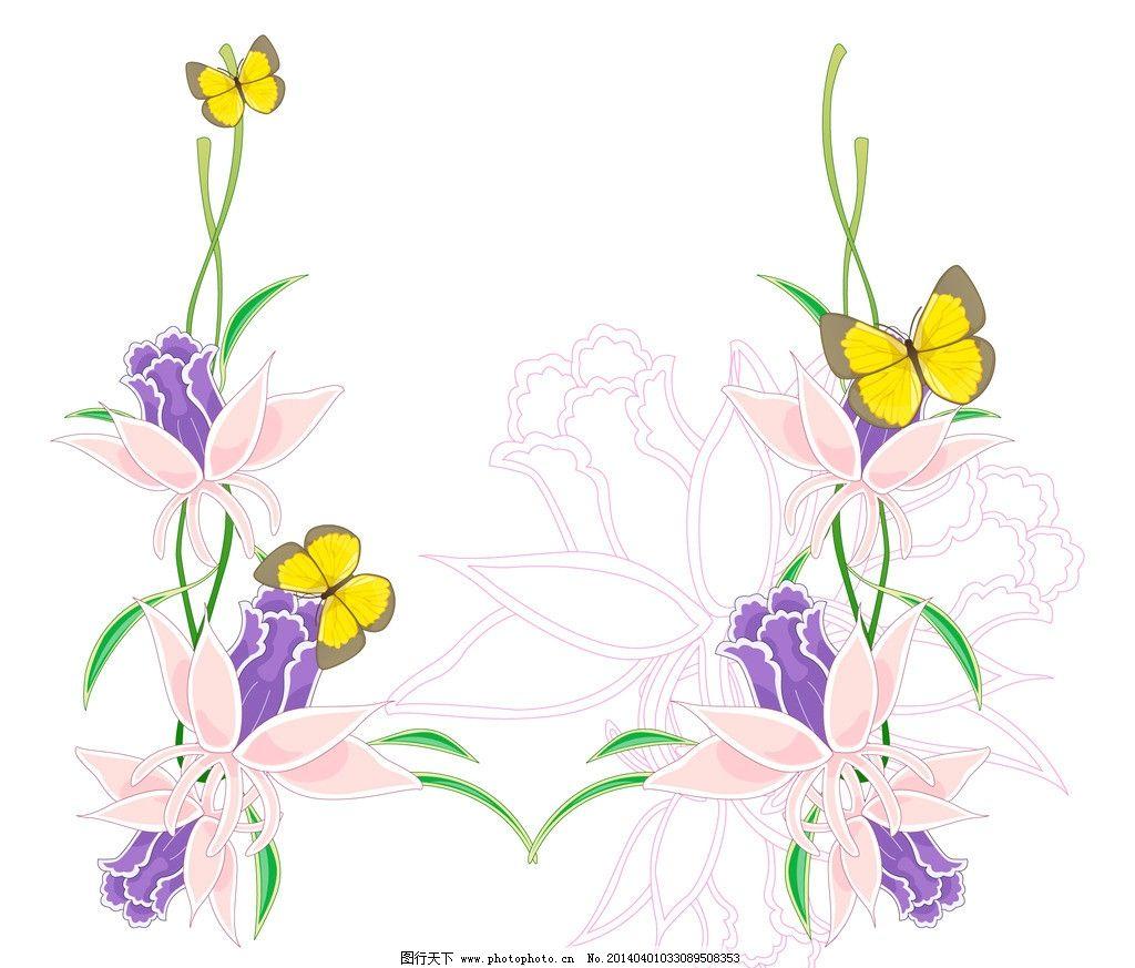 兰花 手绘兰花 花卉 边框 画框 文字框 文本框 鲜花 手绘花纹 精美