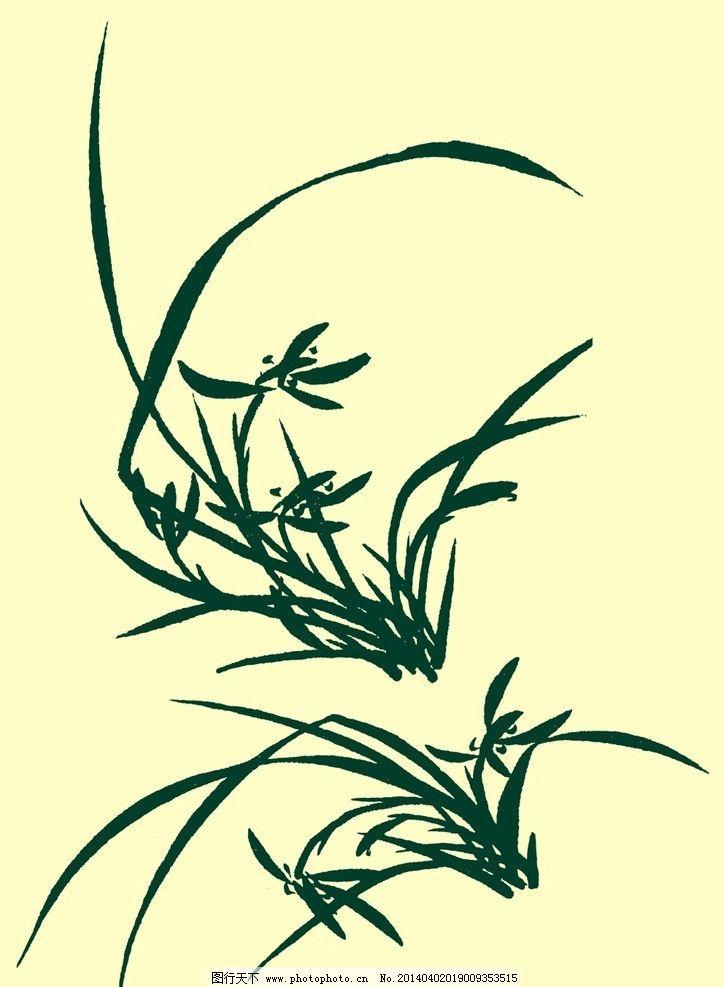 国画兰草 国画 山水画 水墨画 兰草 兰花 花草 花卉植物 艺术 中国