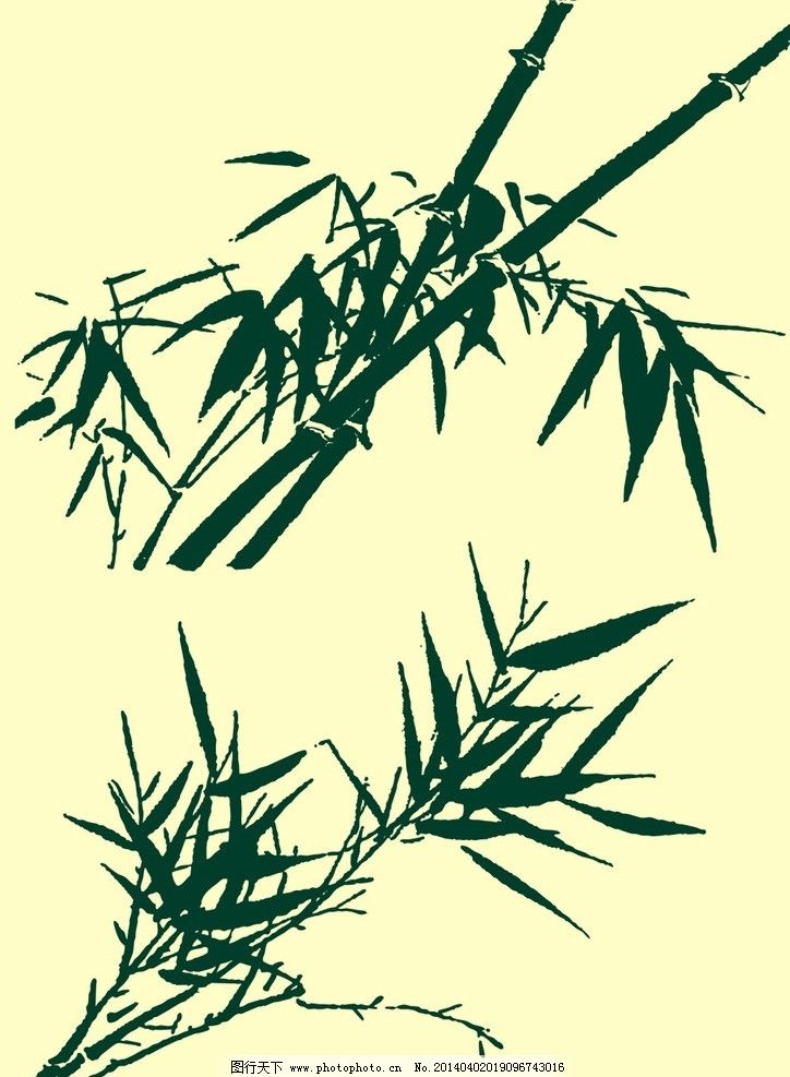 国画竹子 国画 山水画 水墨画 竹子 叶子 花草 植物 艺术 中国传统