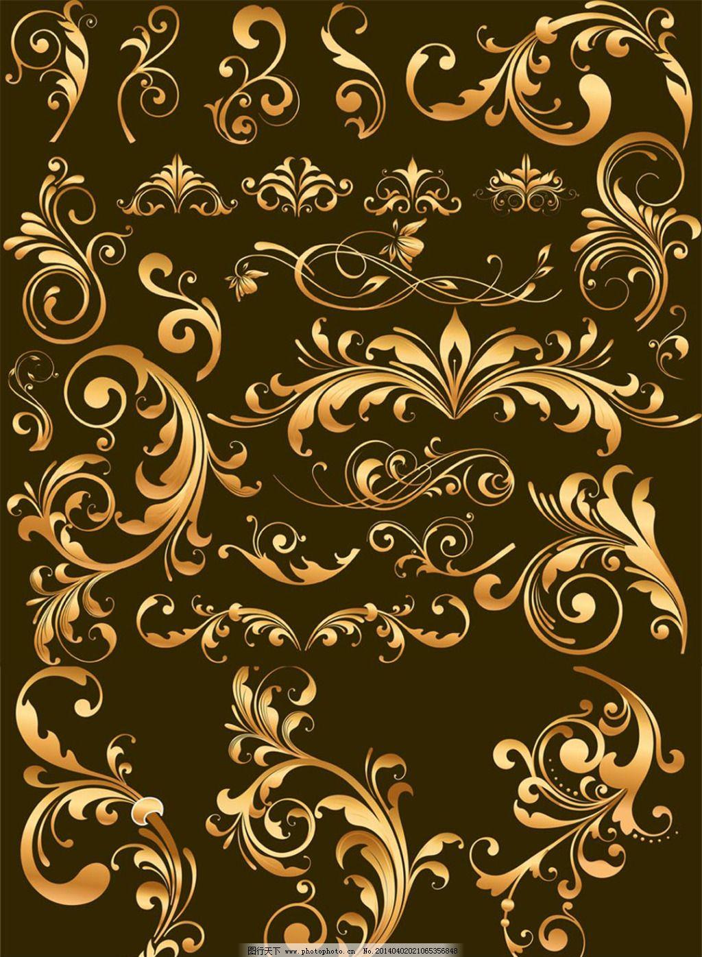 金色欧式花纹边框免费下载