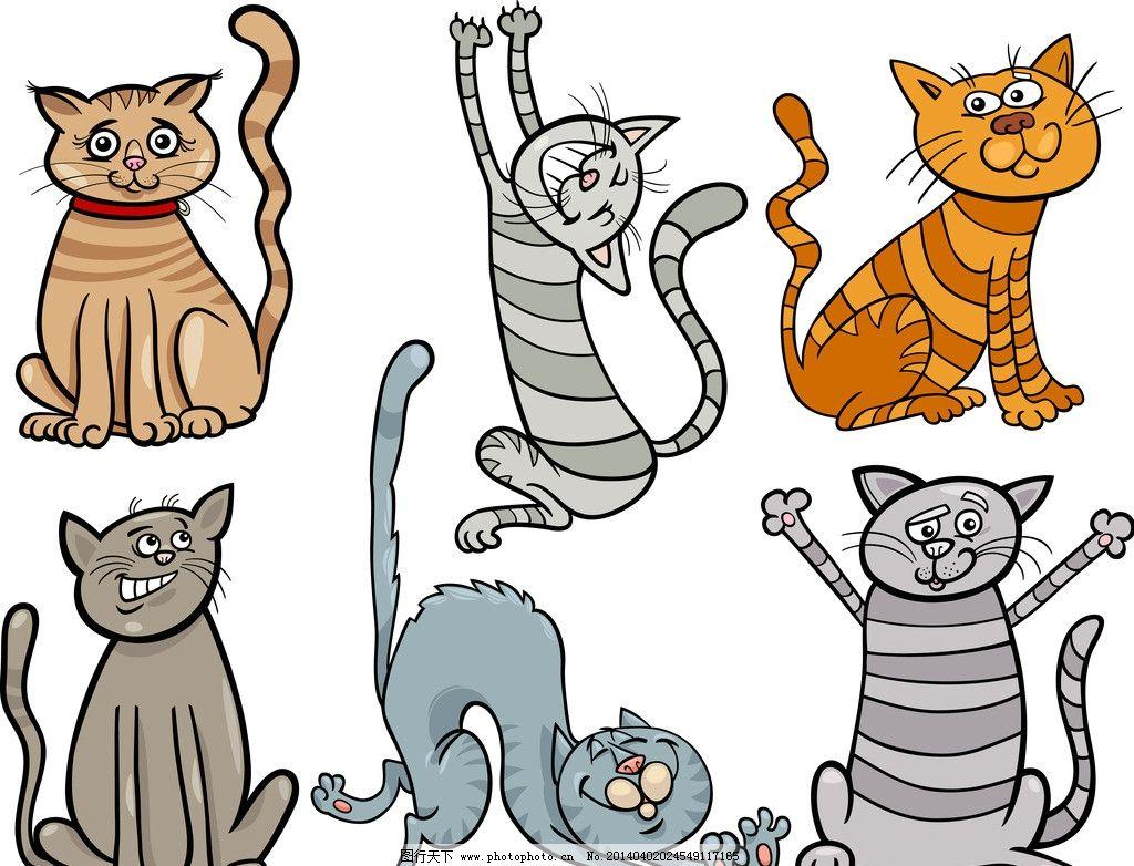 卡通猫 猫咪 宠物 手绘 可爱 动物 表情 矢量