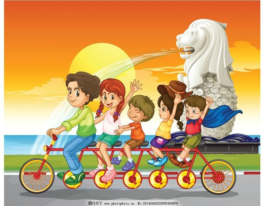 卡通动漫儿童小孩孩子 骑自行车 澳门 多人自行车 儿童 孩子 小孩 小