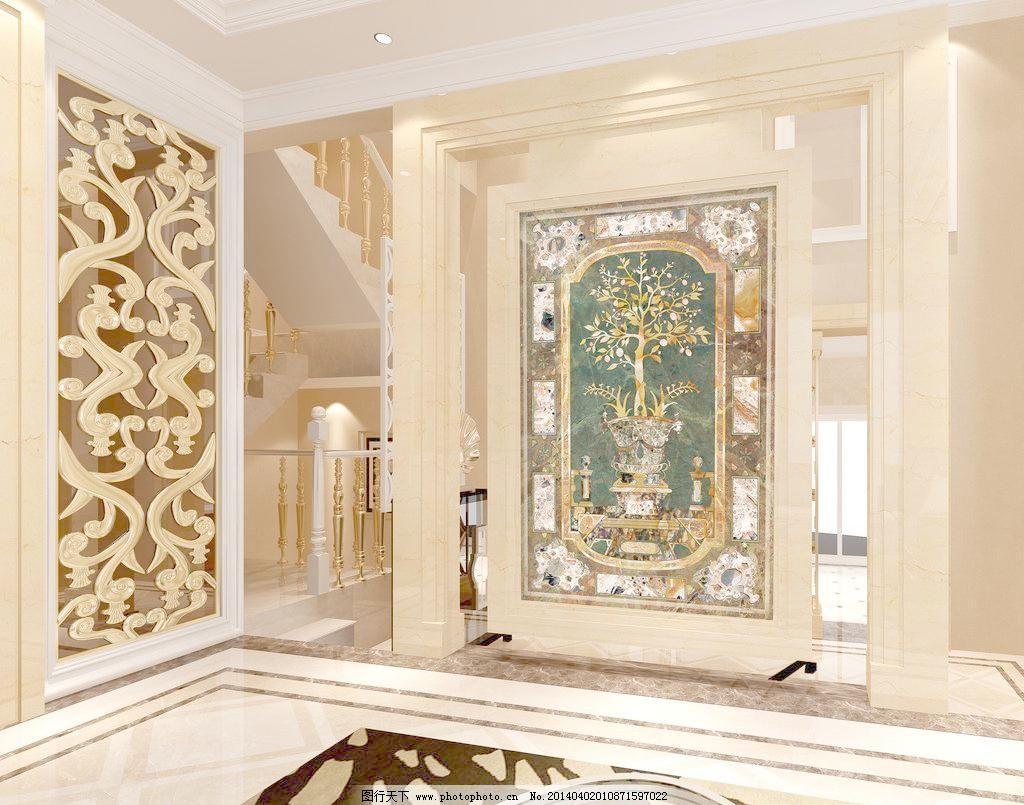 壁画 别墅 别墅效果图 抽象画 隔断 工艺品 柜子 过道 过道效果图