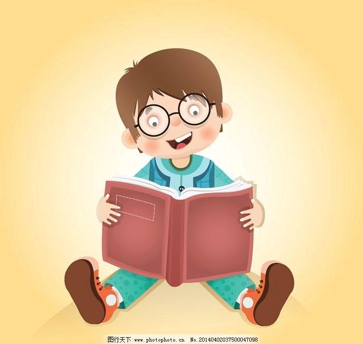 卡通动漫儿童小孩孩子 读书 学习 教育 儿童 孩子 小孩 小学生 小男孩