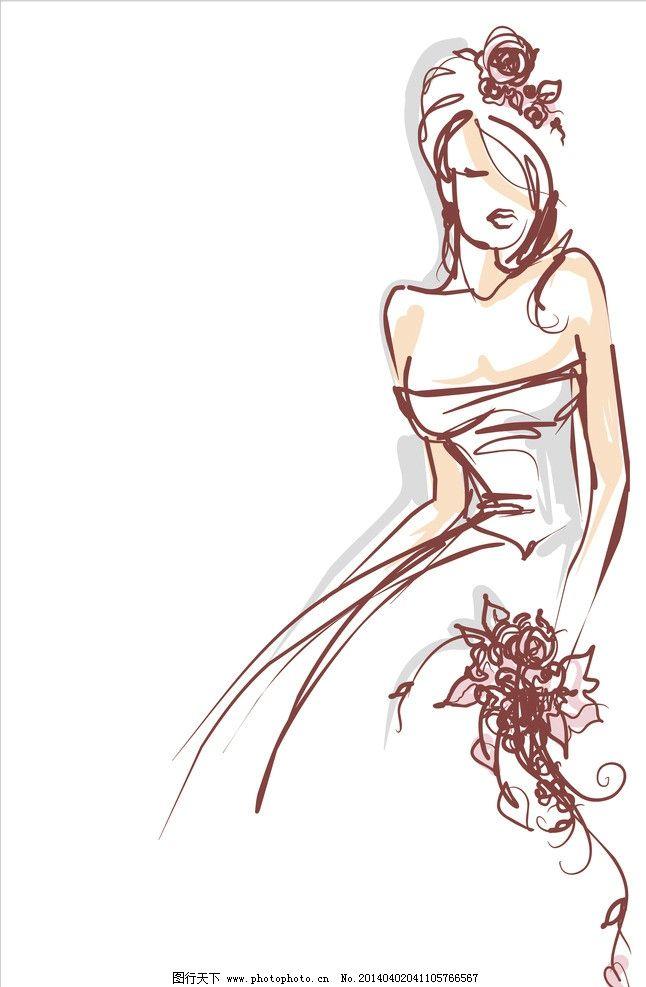 古装长裙美女手绘