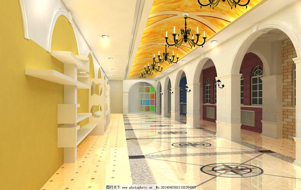 室内效果图 欧式 教室 走廊 3d作品 3d设计 设计 72dpi jpg图片