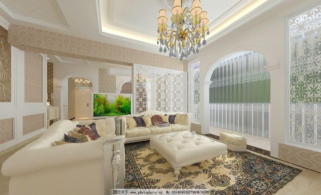 室内装饰效果图 背景墙 热闹 欧式      室内 沙发 室内设计 环境设计