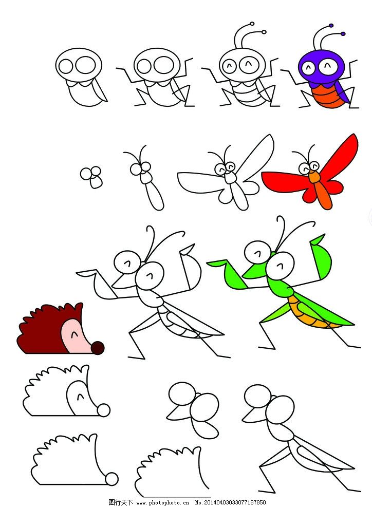 儿童简笔画 分步 蟋蟀