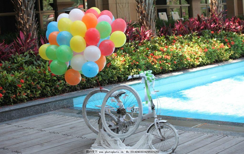 自行车 气球 装饰 白色 人文景观 旅游摄影 摄影 72dpi jpg