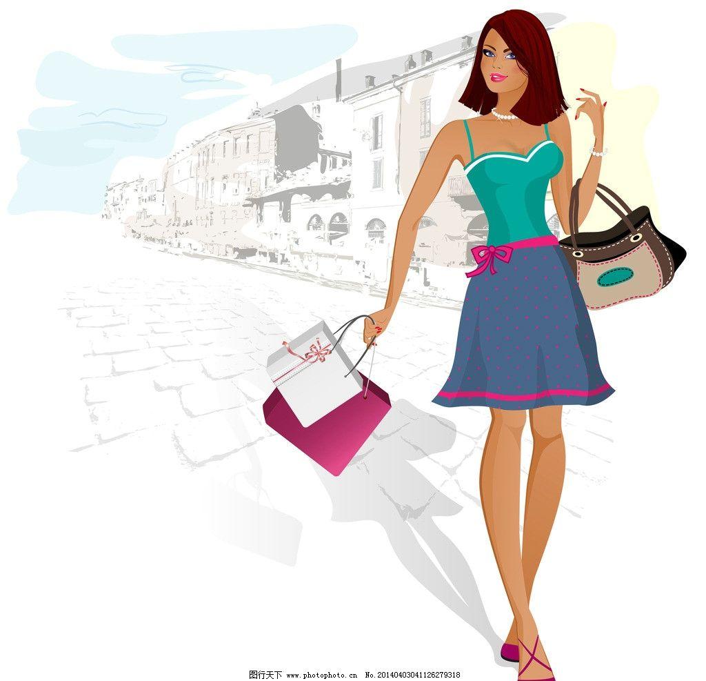 购物 逛街 少女 服装设计 消费 休闲 时尚 人物剪影 生活 美女 女人