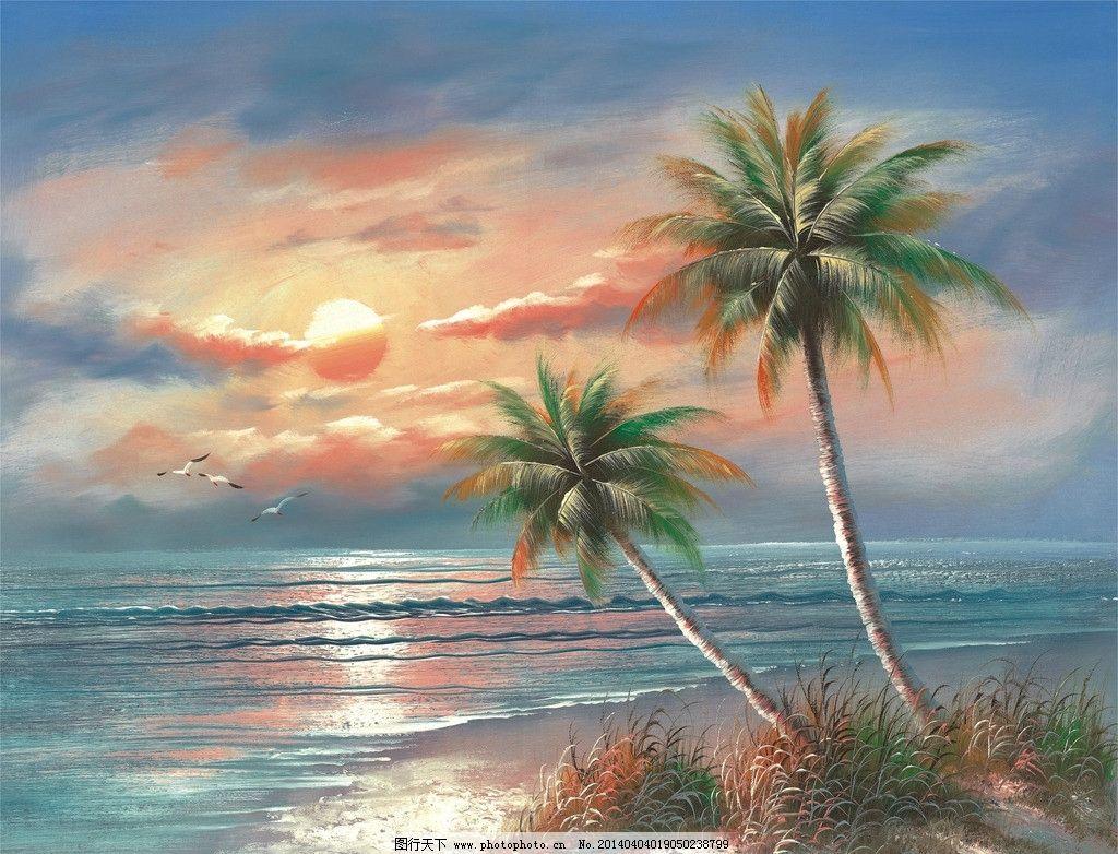 海滩夕阳海景图图片