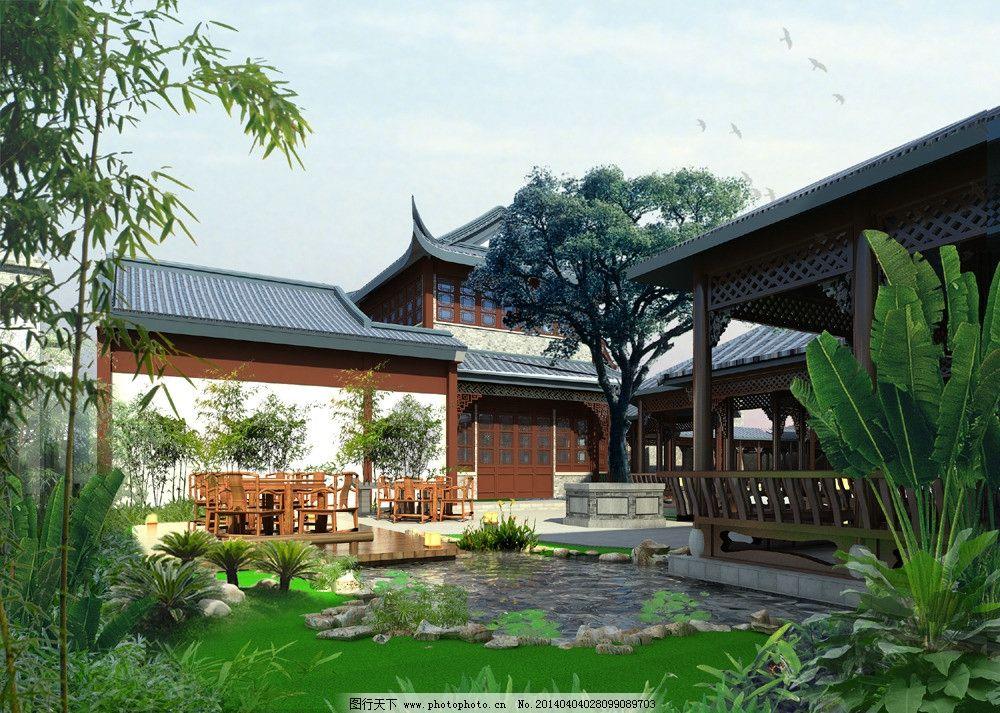 中式庭院景观效果图 景观 园林 绿化        中式 建筑设计 环境设计