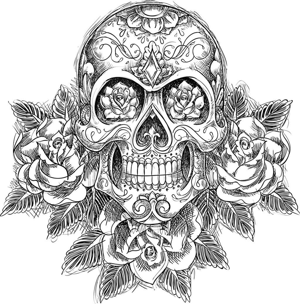 骷髅头免费下载 黑白 花 骷髅 手绘 黑白 骷髅 花 手绘 图片素材 其他