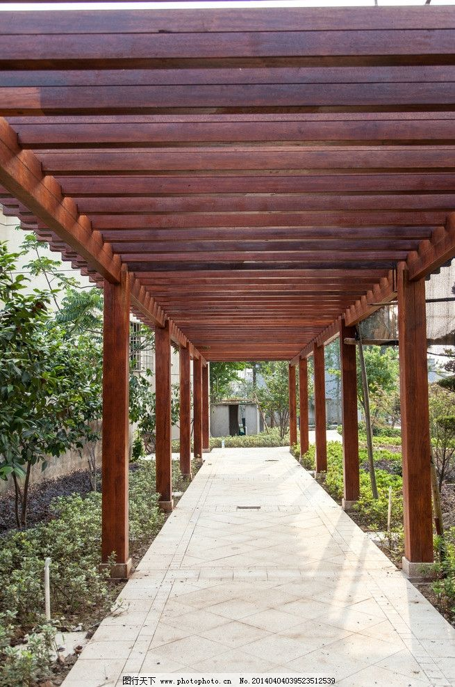 长廊 园林 园林建筑 景观设计 实木 木材 建筑园林 摄影