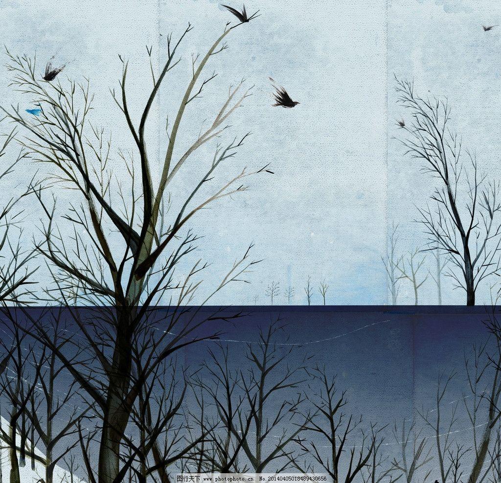 冬季漫画 冬季 手绘 蓝色 深蓝 简笔画 鸟 树 风景漫画 动漫动画 设计