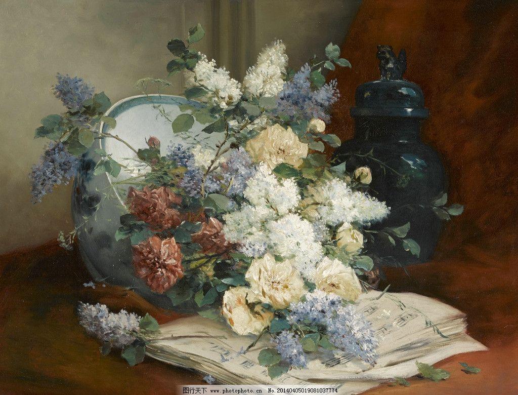 静物鲜花 混搭鲜花 乐谱 碗 罐子 19世纪油画 油画 绘画书法 文化艺术