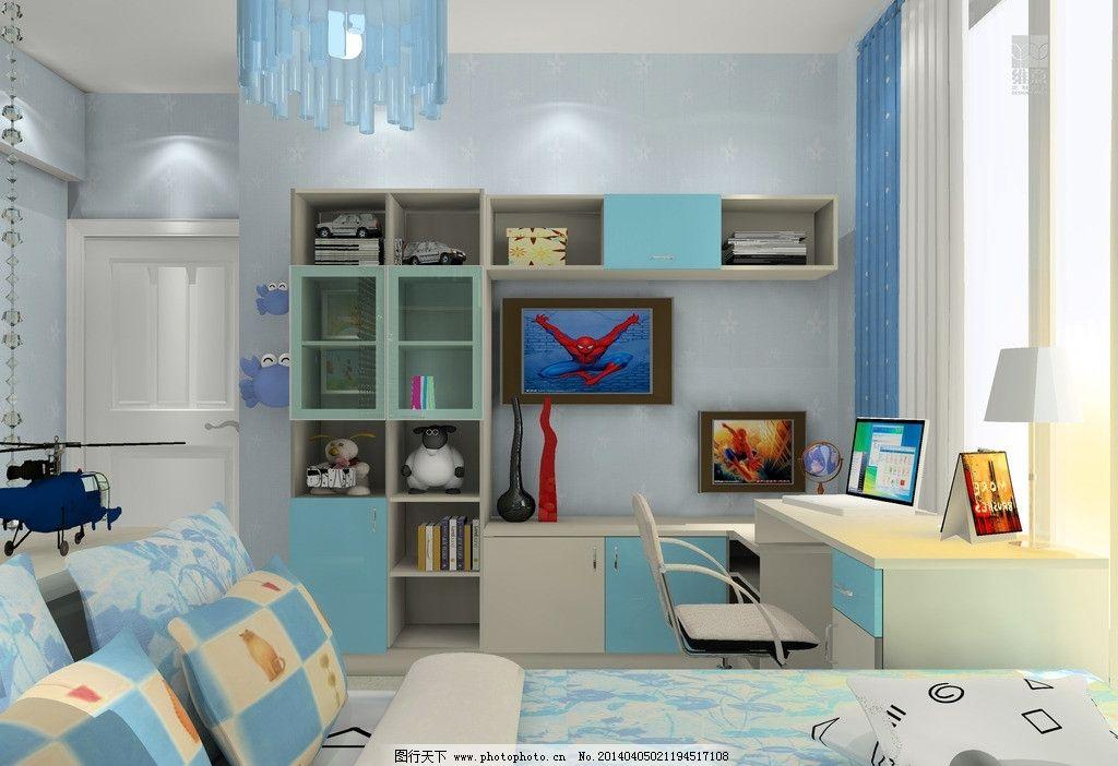 室内家装设计 儿童房 书桌 吊柜 床 挂画 蓝色效果 男孩房 3d家装中式