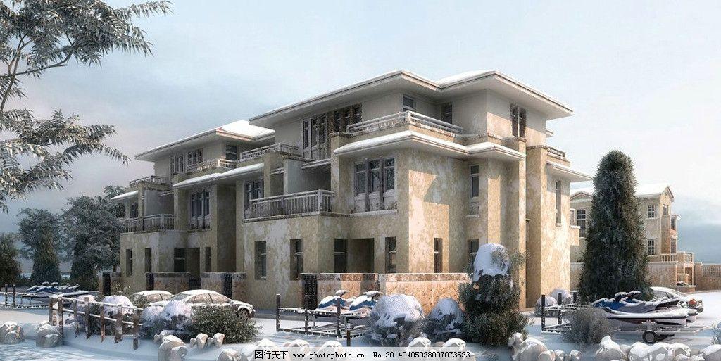 欧式别墅雪景图片