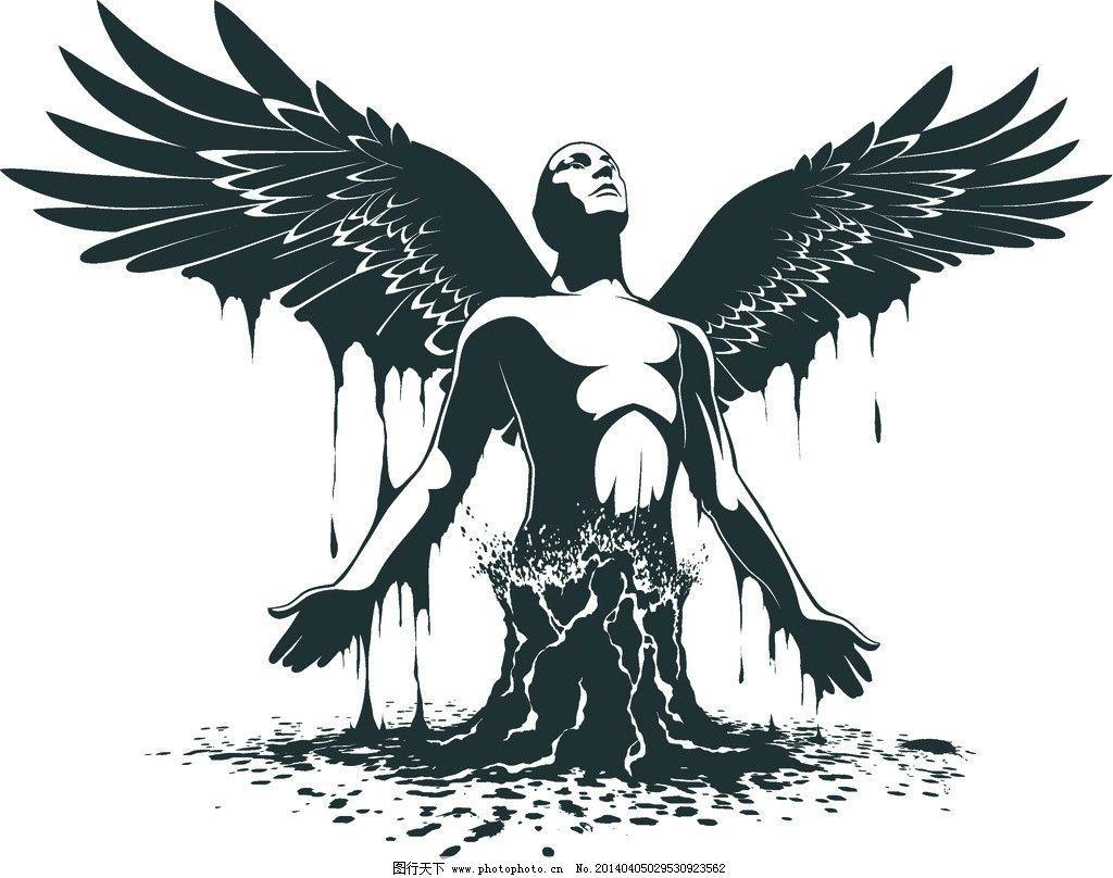 天使 卡通设计 翅膀 手绘 绘画 装饰画 动漫人物 动漫动画 抽象