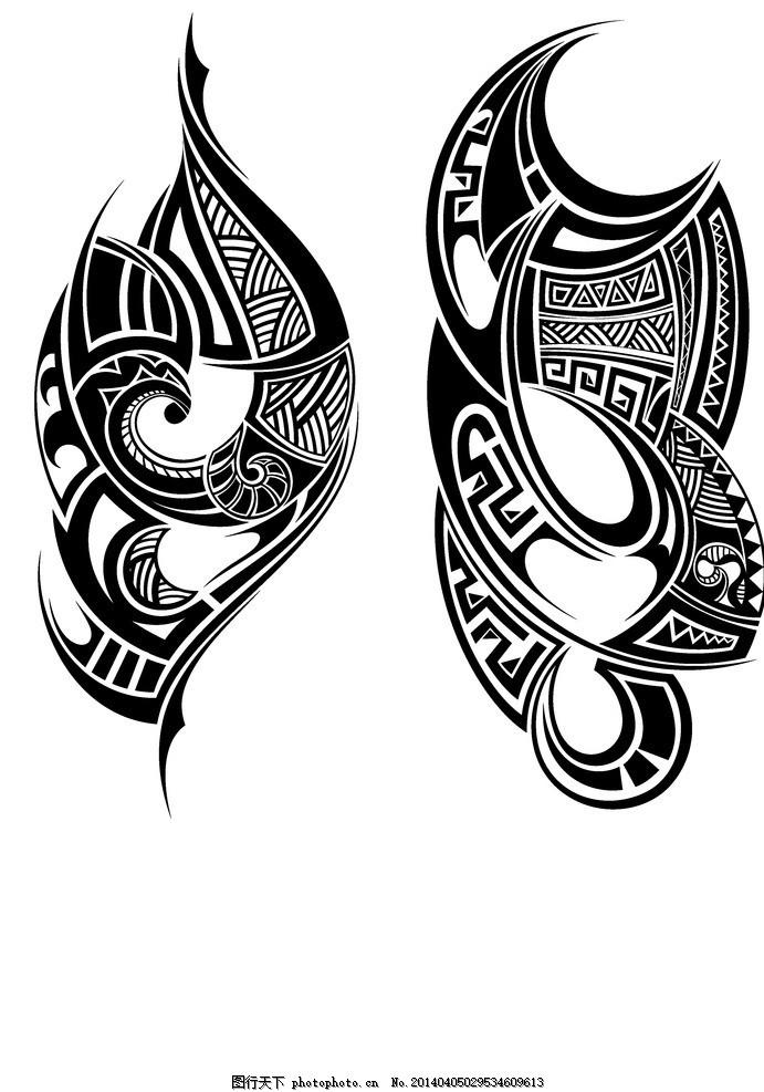 纹身设计 纹身图案 恐怖元素 手绘 欧美花纹 服装图案 广告设计矢量素