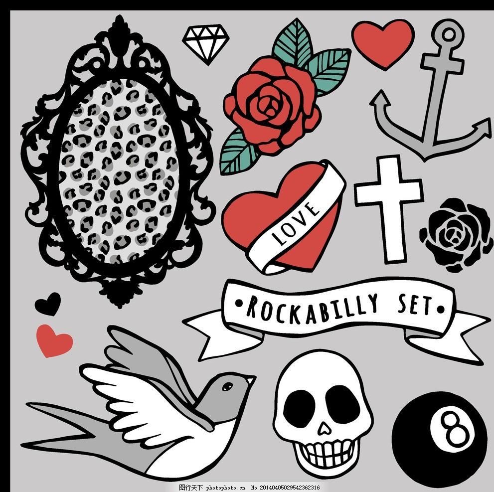 纹身设计 纹身图案 恐怖元素 玫瑰花 手绘 魔鬼 骷髅 欧美花纹