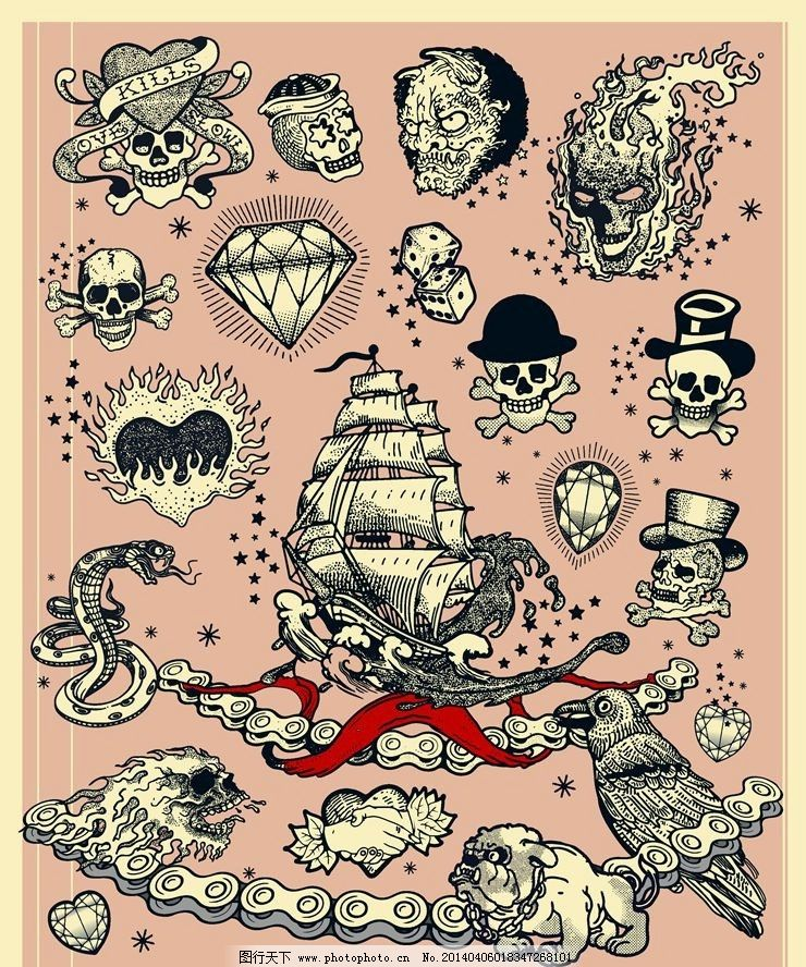 欧美纹身图案纹身设计图片