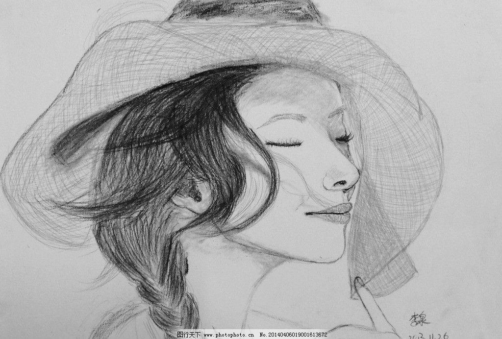 美女素描 素描 中国 思绪