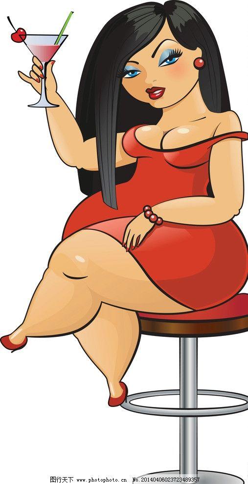 胖卡通女人可爱图片