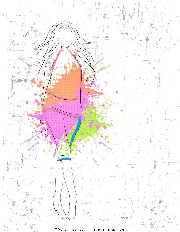 手绘 小女孩 服装设计 素描 美丽 浪漫 时尚女孩速写插图 女生 休闲