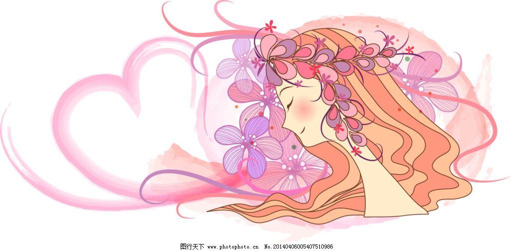 爱心女孩 爱心女孩免费下载 花环 漂亮 心心相印 爱心大使 矢量图