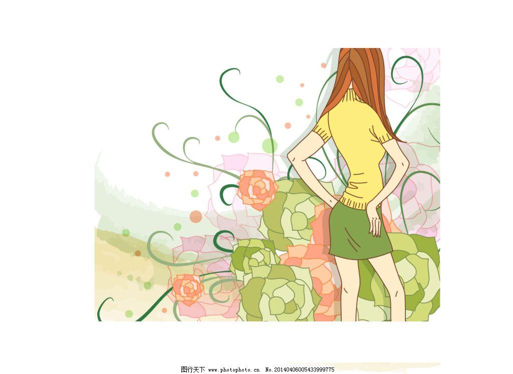 黄色少女卡通照片
