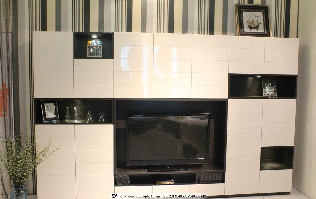 电视机柜 电视机 背景墙 黑白 展示柜 装修效果 橱柜 室内摄影 建筑