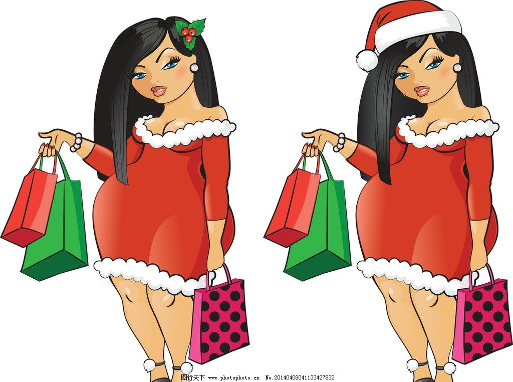 手绘少女 女孩 女人 时尚 少女 时髦 购物 逛街 胖妞 女性 都市美女