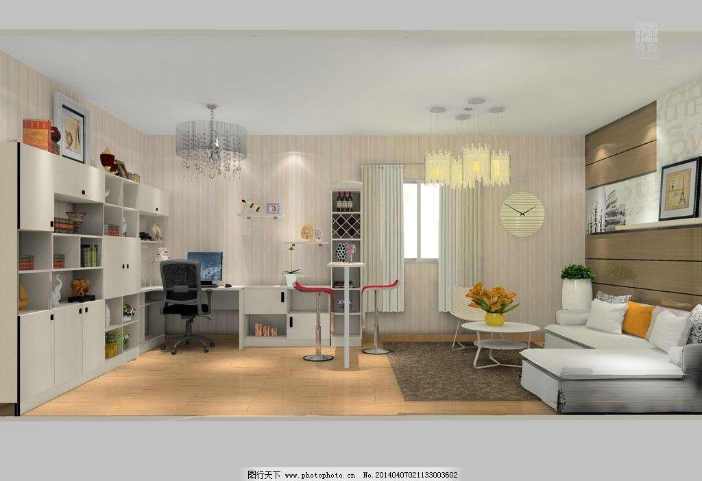 室内家装设计 酒吧 吊柜 吊灯 花 饰品 吧台凳 地板 沙发 3d家装中式