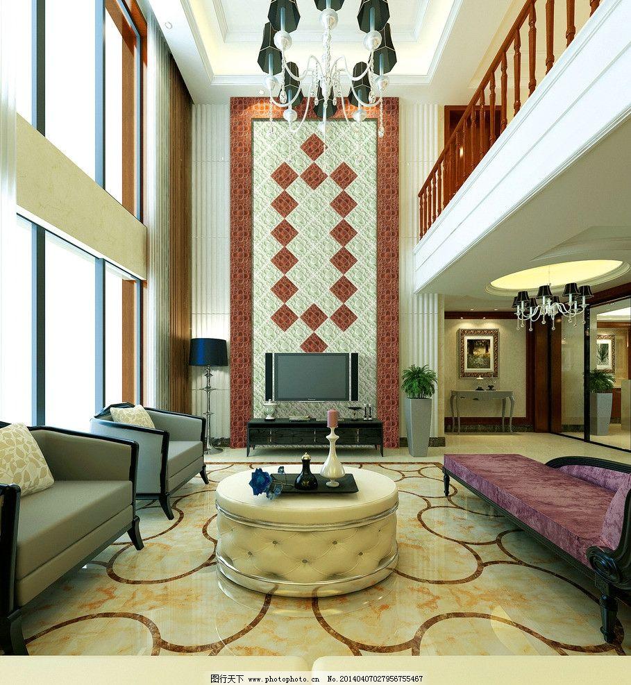 欧式客厅图片,背景墙 沙发 吊灯 豪华-图行天下图库图片