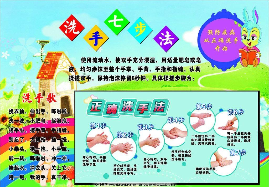 洗手七步法 洗手 七步法 幼儿园 礼仪 洗手歌 展板模板 广告设计 矢量