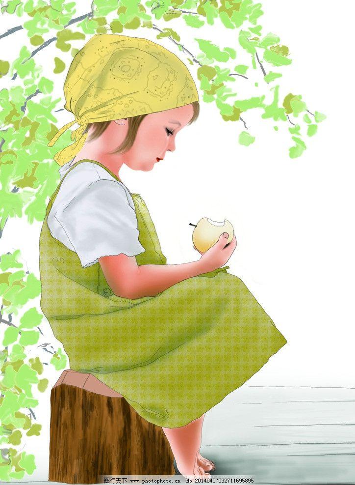 手绘插画 女孩图片
