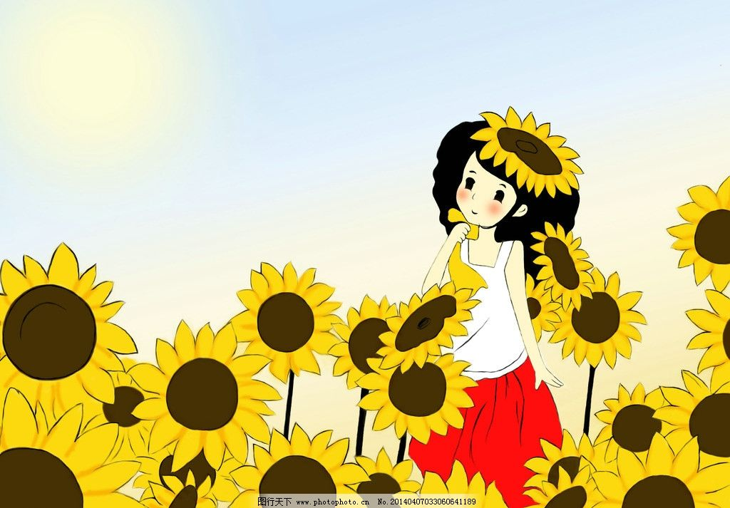 手绘 插画 向日葵 女孩