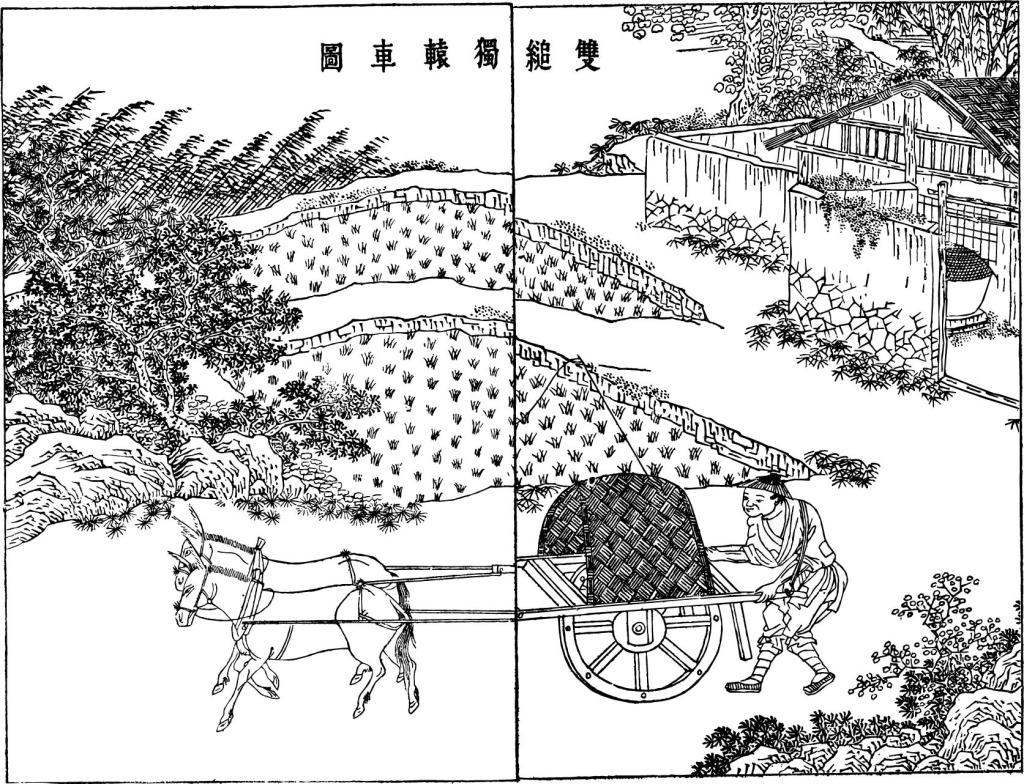 古代人物 古风 马车 农民 农田 人物 日常生活 水稻 中国古代工艺矢量