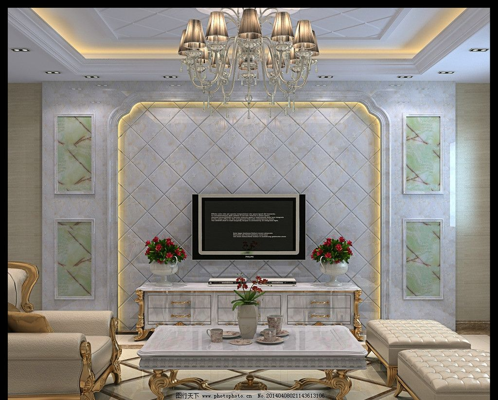 电视背景效果图 白玉 客厅效果图 电视墙
