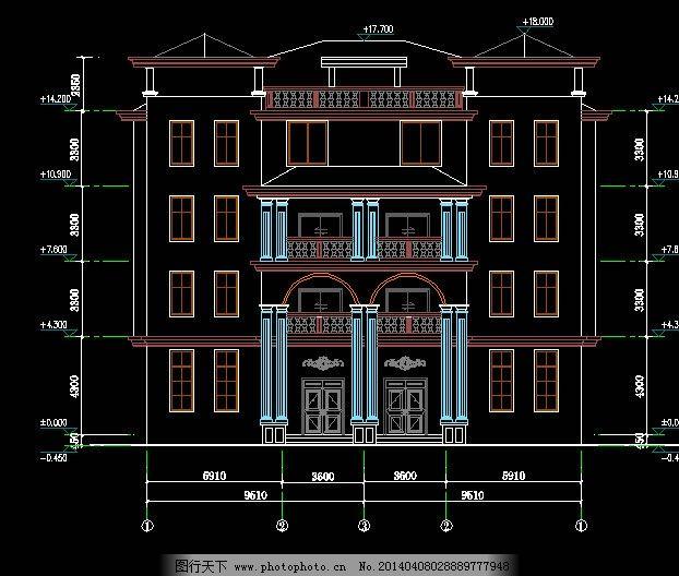 建筑别墅立面图图片