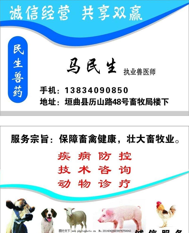 兽医名片 名片卡片 兽药 牛矢量图 动物矢量图 广告设计 矢量 cdr