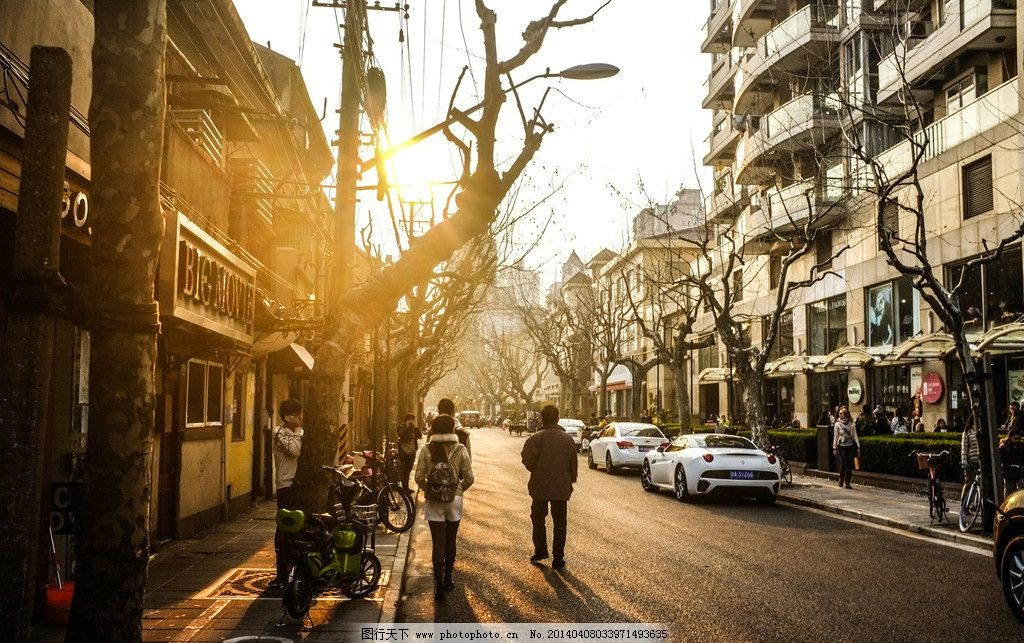 上海旧马路黄昏 上海 旧马路 冬季 梧桐树 黄昏 国内旅游 旅游摄影